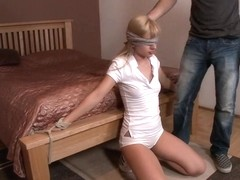Hot Little Blonde Tied up and Gang Banged