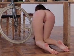 junior college girl with her bike