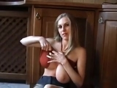 White hotty slim gal with large natural breast is in my room undress dancing