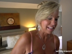 Busty MILF Slowly Sucks and Strokes Huge Cum Shot