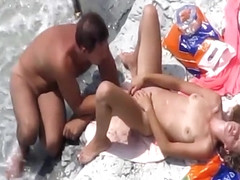 Spying foreplay and sex on the beach