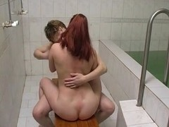 Overweight alluring mamma with unshaved pubis & fella at sauna