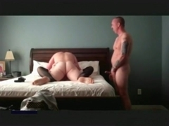 Cuckold jerks off, while he watches a stranger fuck his wife.