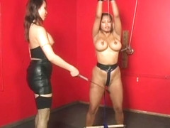 Busty Asian mistress plays wih her slavegirl