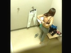 Gorgeous Latina caught on a changing room spy cam