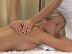 Lesbea Busty blonde gets oil massage and deep orgasm