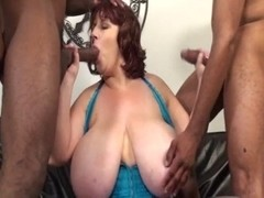 BBW bitch with two cocks in a hot threesome
