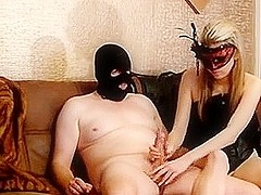 Red gets jerked off and denied by mistress