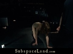 Submissive redhead slave tormented and used as sex toy