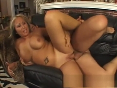 Big breasted Oriental slut getting fucked deep and rough on the couch
