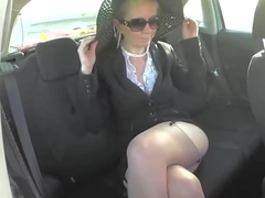 Blonde mature wife in too short miniskirt exposes her ass
