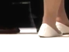 Candid Shoeplay Feet in White Flats Nylons