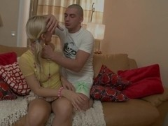 Blond Iza Rides Her Man S Dick Until He Drops His Load
