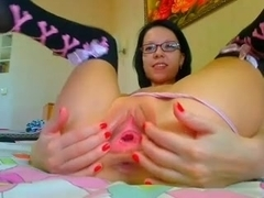Molly gapes her sweet pink pussy